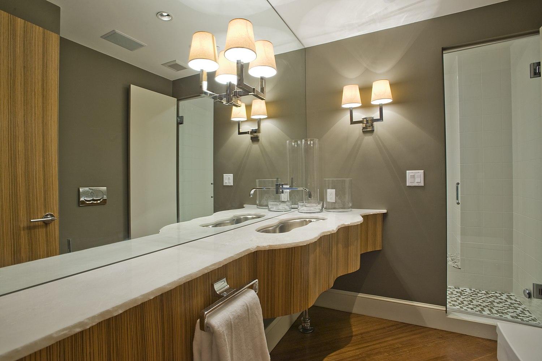 modern bathroom with custom counter