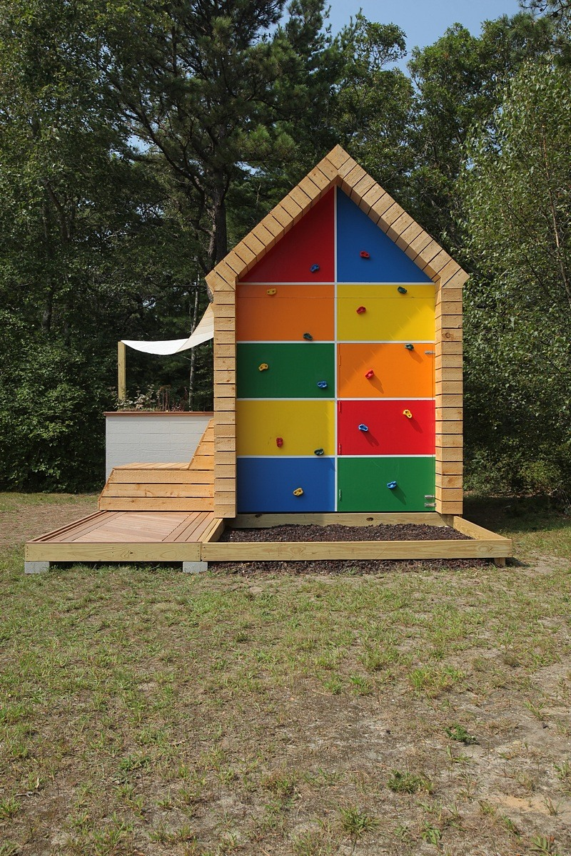 Playhouse with Gable End Rock Wall