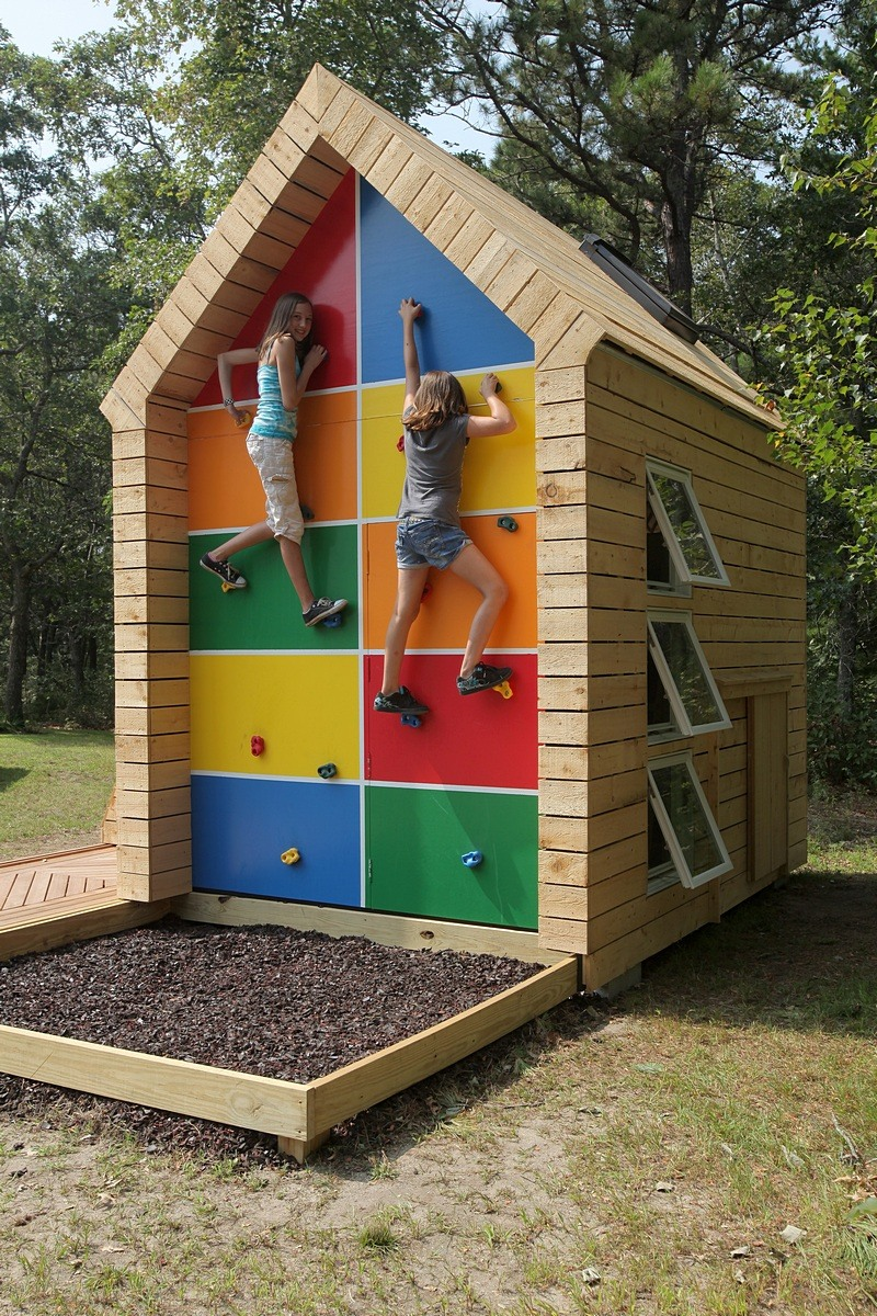 Playhouse with Rock Wall