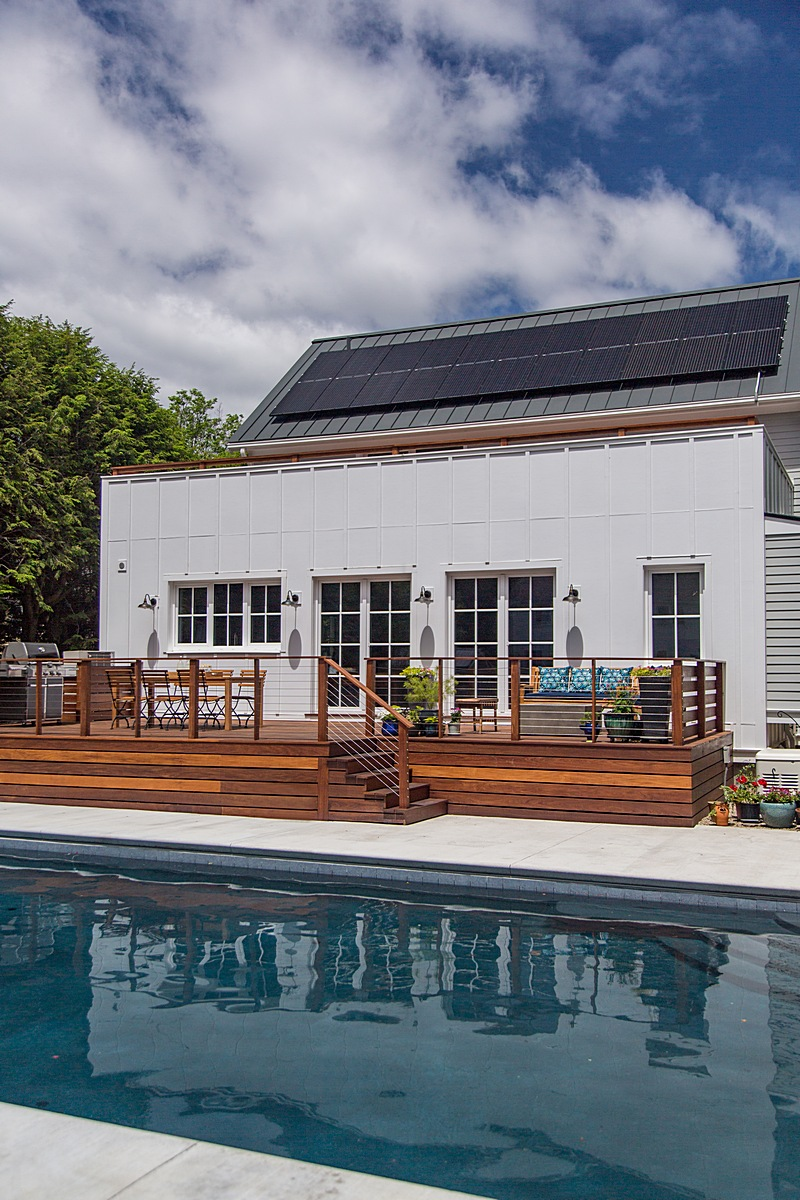 Pool, rear deck, and solar electric system