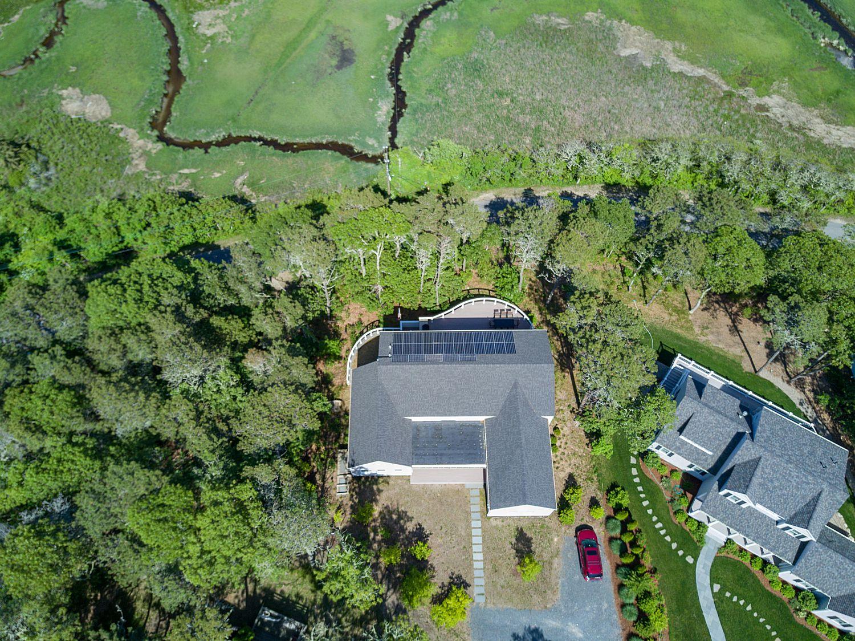 modern green home aerial view