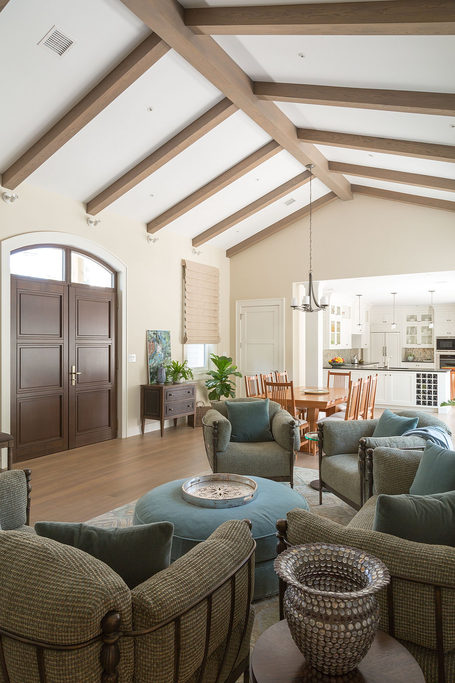 Modern living room with exposed beams