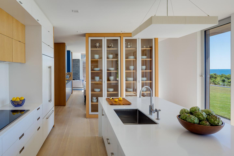 Modern white kitchen with island