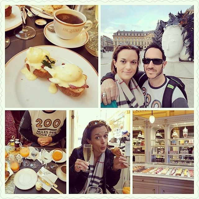 "3 years ago, t minus two days till we were in Monaco getting married!!! ""Brunch in Paris.  Well this is horrible.... Seriously, everything melts in your mouth, you dont even need teeth here, lol"""