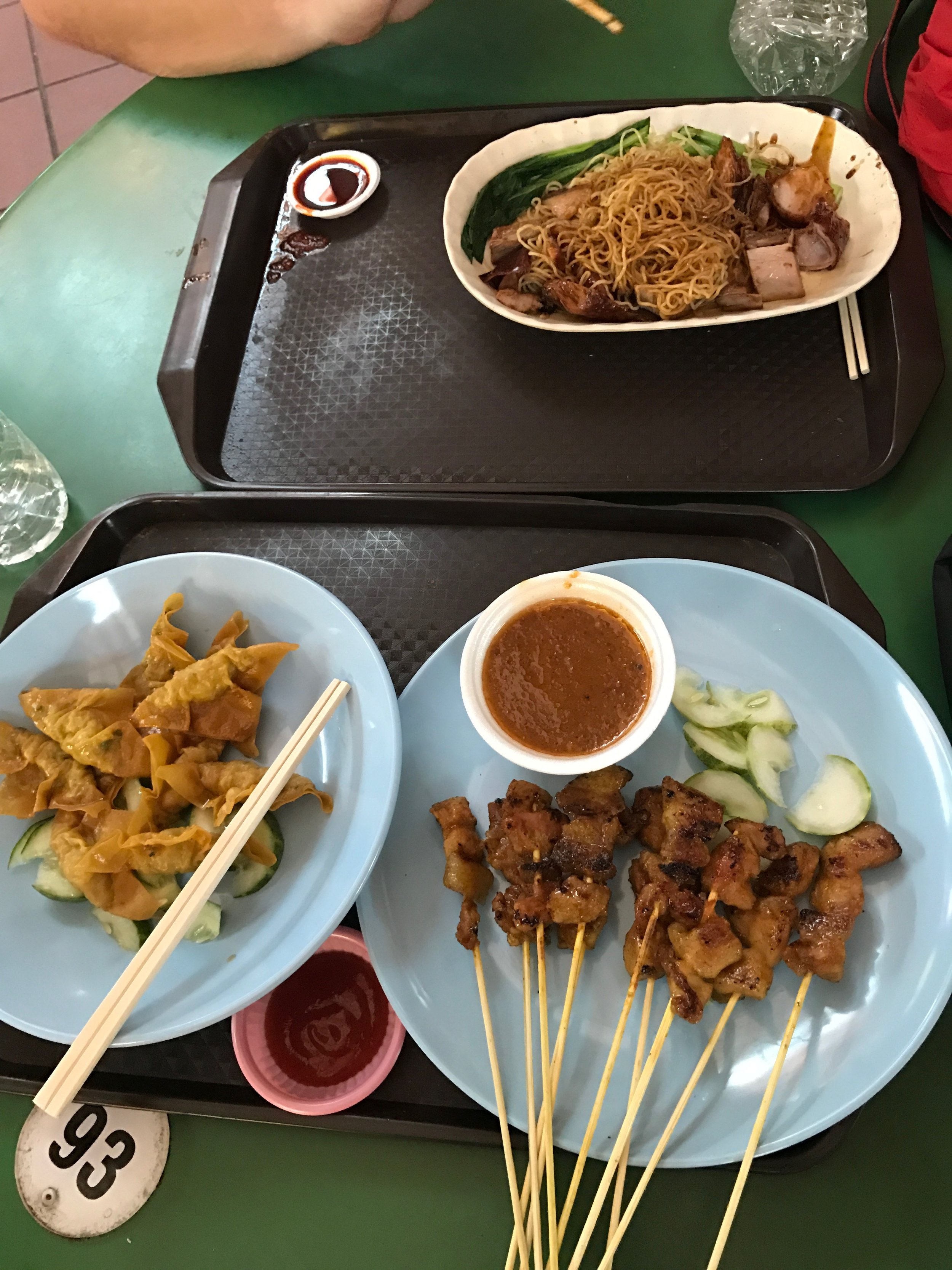 chicken satay with peanut sauce + fried wantons + duck noodles = a super inexpensive but amazing lunch.