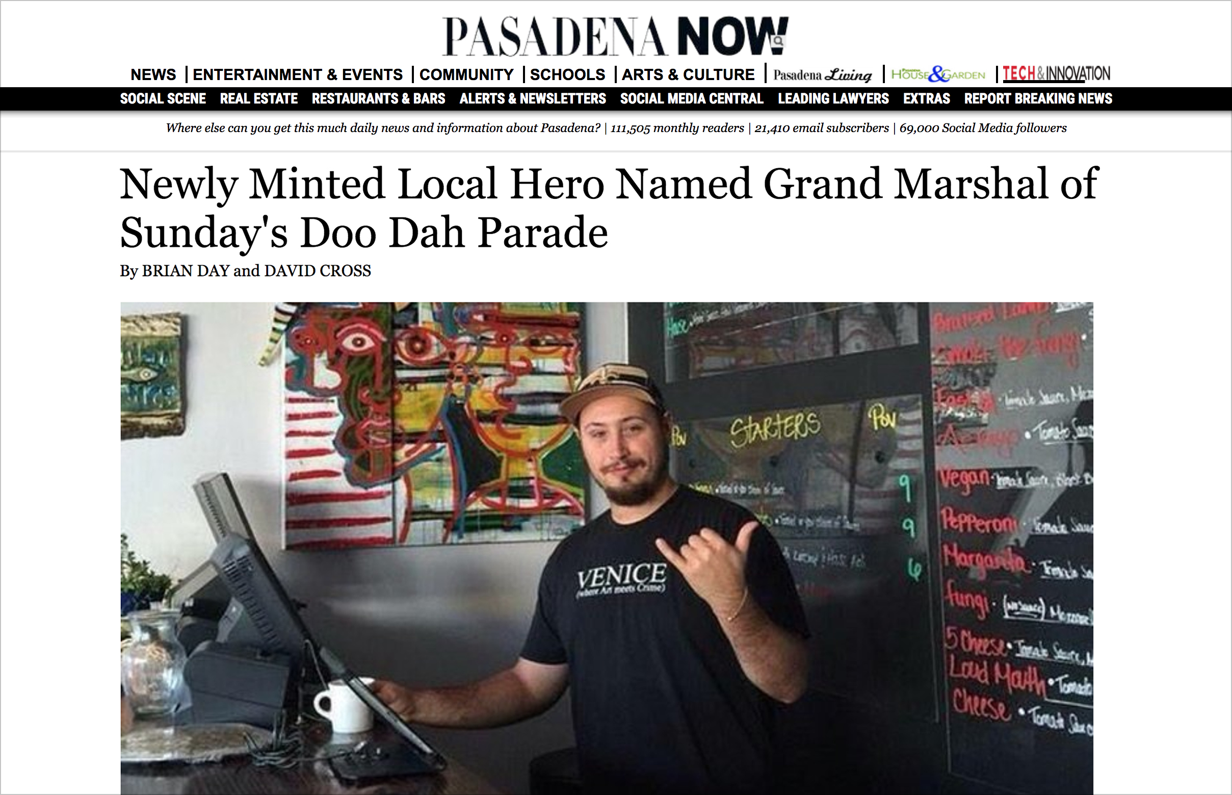 Editor's Note: We wish to clarify that the Doo Dah Parade this weekend is on Sunday, November 18. An earlier version of the story said otherwise.