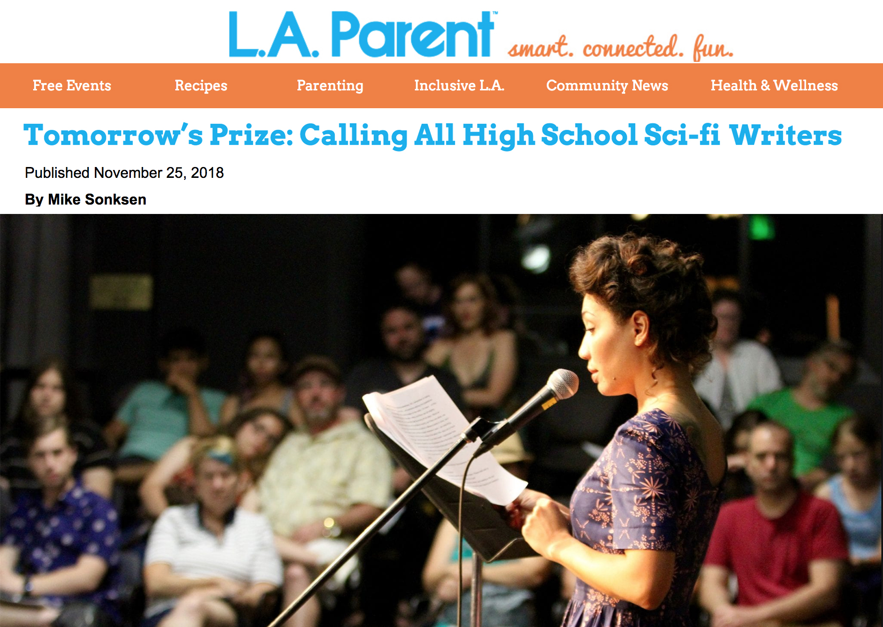 """Actress Jasika Nicole (""""Fringe"""") reads a finalist's story for The Tomorrow Prize Reading & Awards at LitFest Pasadena. PHOTO BY ROSALIND HELFAND"""