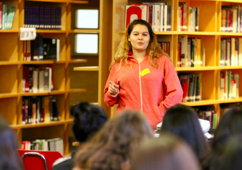 Issue 5 Author Ximena Salas speaking to students about her story, at West Adams Preparatory High School, Los Angeles