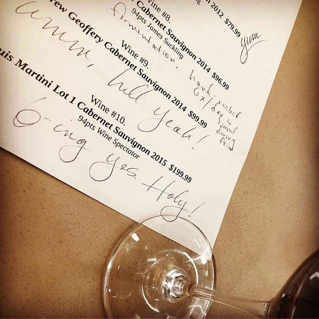 Tasting notes for the evening... . . . . #winetasting #wine #napa #napavalley #junglejims #louismartini #cabernetsauvignon #cab #cabernet