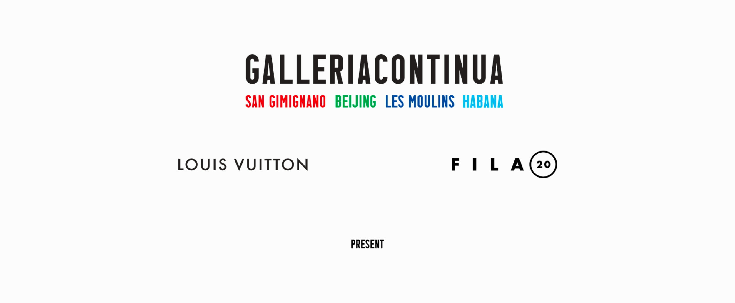 Clients  Galleria Continua - Louis Vuitton  commissioned several projects to FILA20. You can also take a look at our documentary   Galleria Continua at the 12th Havana Biennial  .