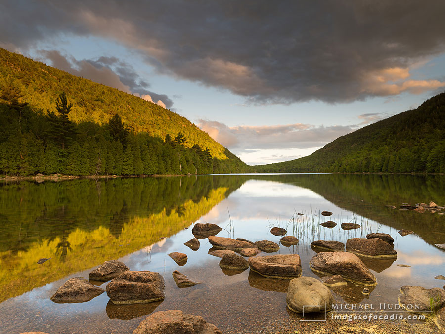 Evening light on Bubble Pond, Acadia National Park, Maine, USA