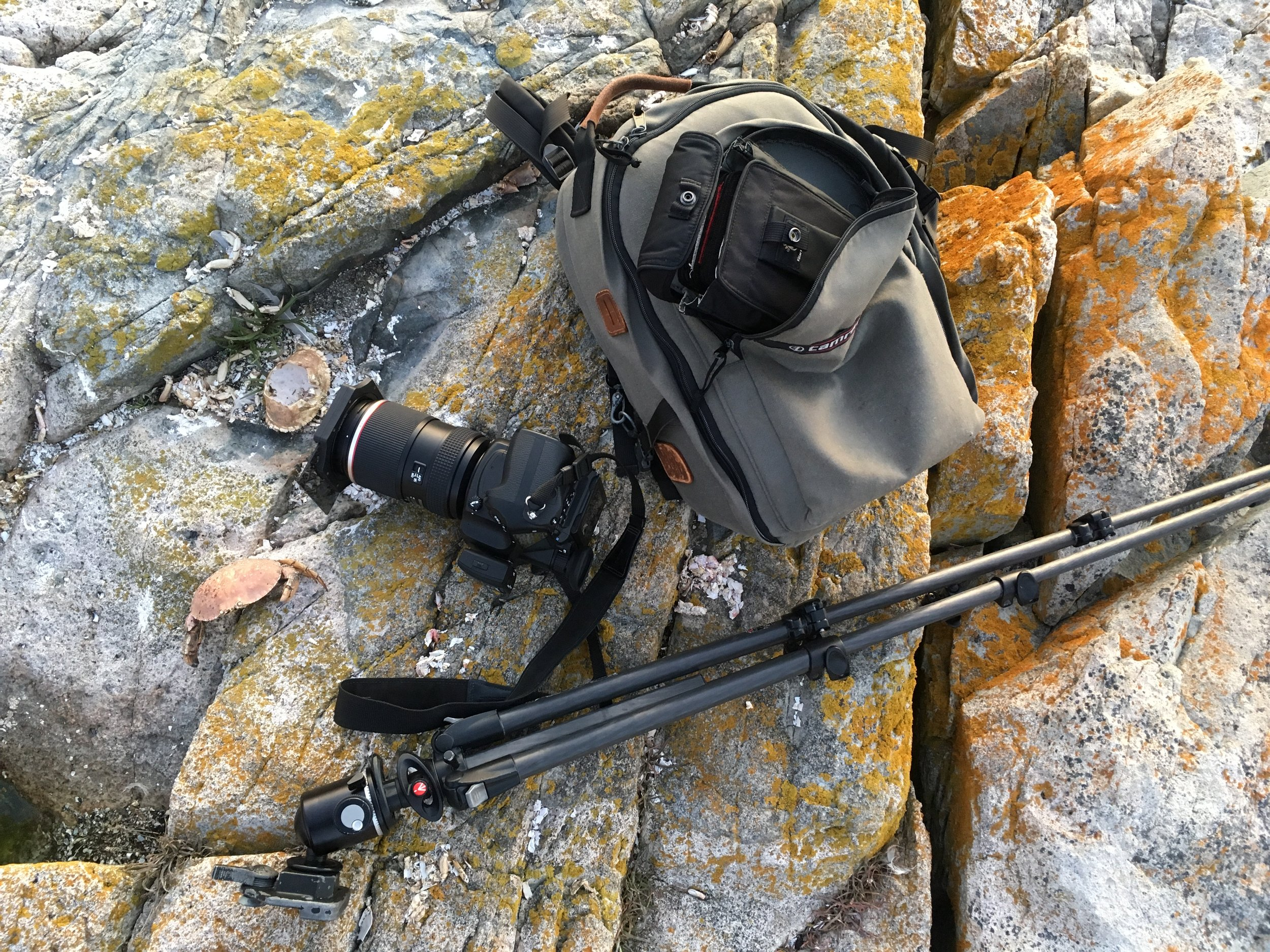 My bag and gear, shooting at the Raven's Nest on Schoodic Point in Acadia in October 2017. The carbon fiber tripod is fitted with an Arca Swiss ball head and the smaller black bag is my filter pouch. The camera backpack has been on every trip with me since 1994. Crab carcasses left in situ :)