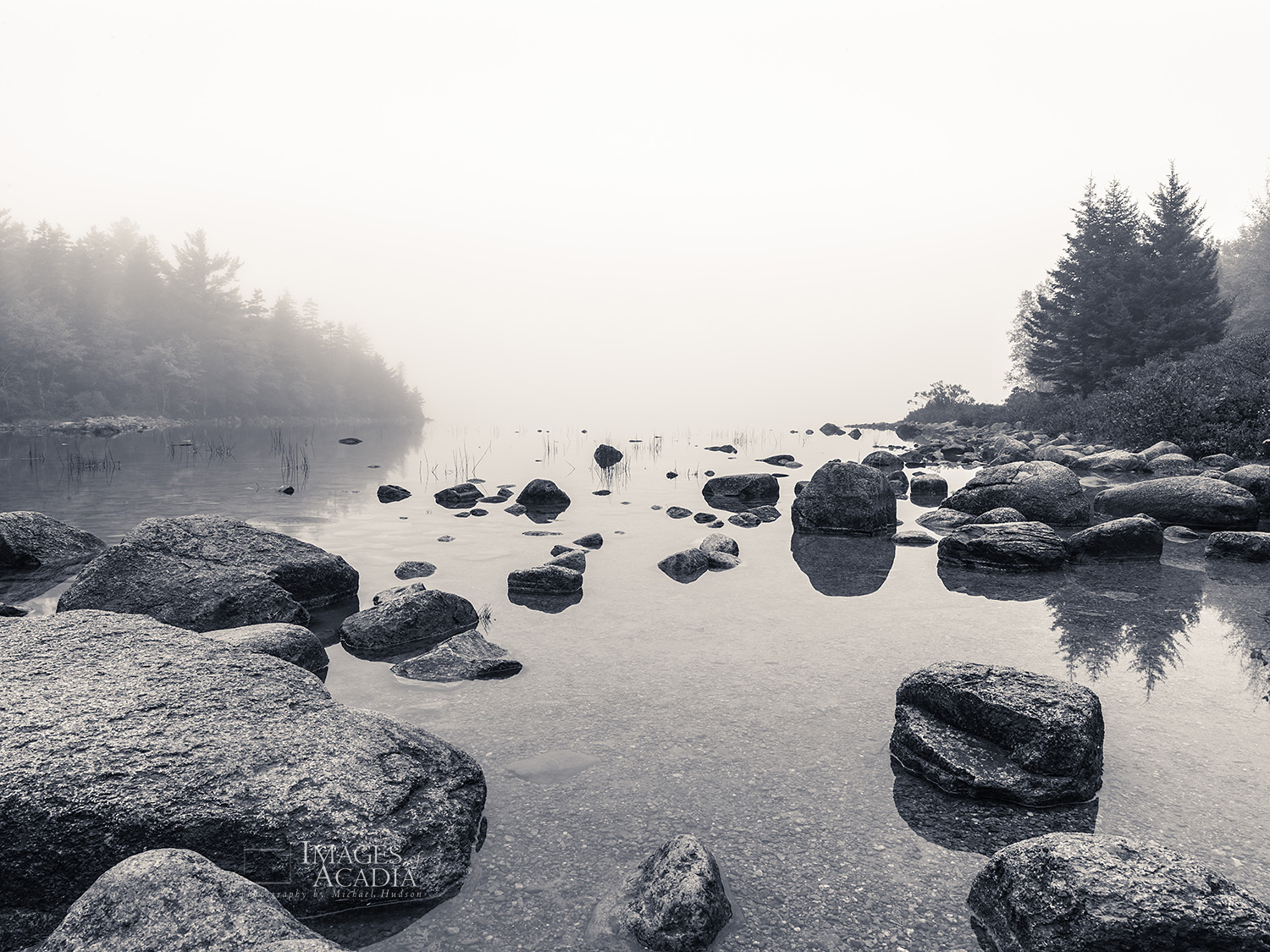 Fog and boulders around Jordan Pond