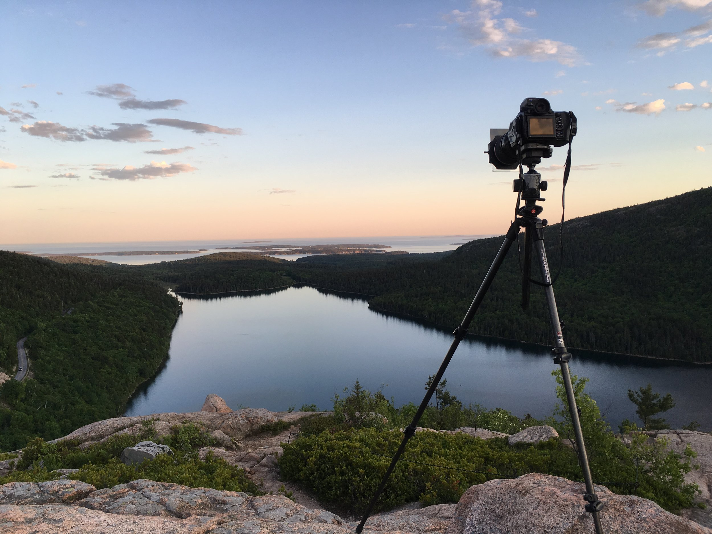 The Manfrotto 190CXPRO3 carbon fiber tripod and Pentax 645Z in action on top of Bubble Mountain