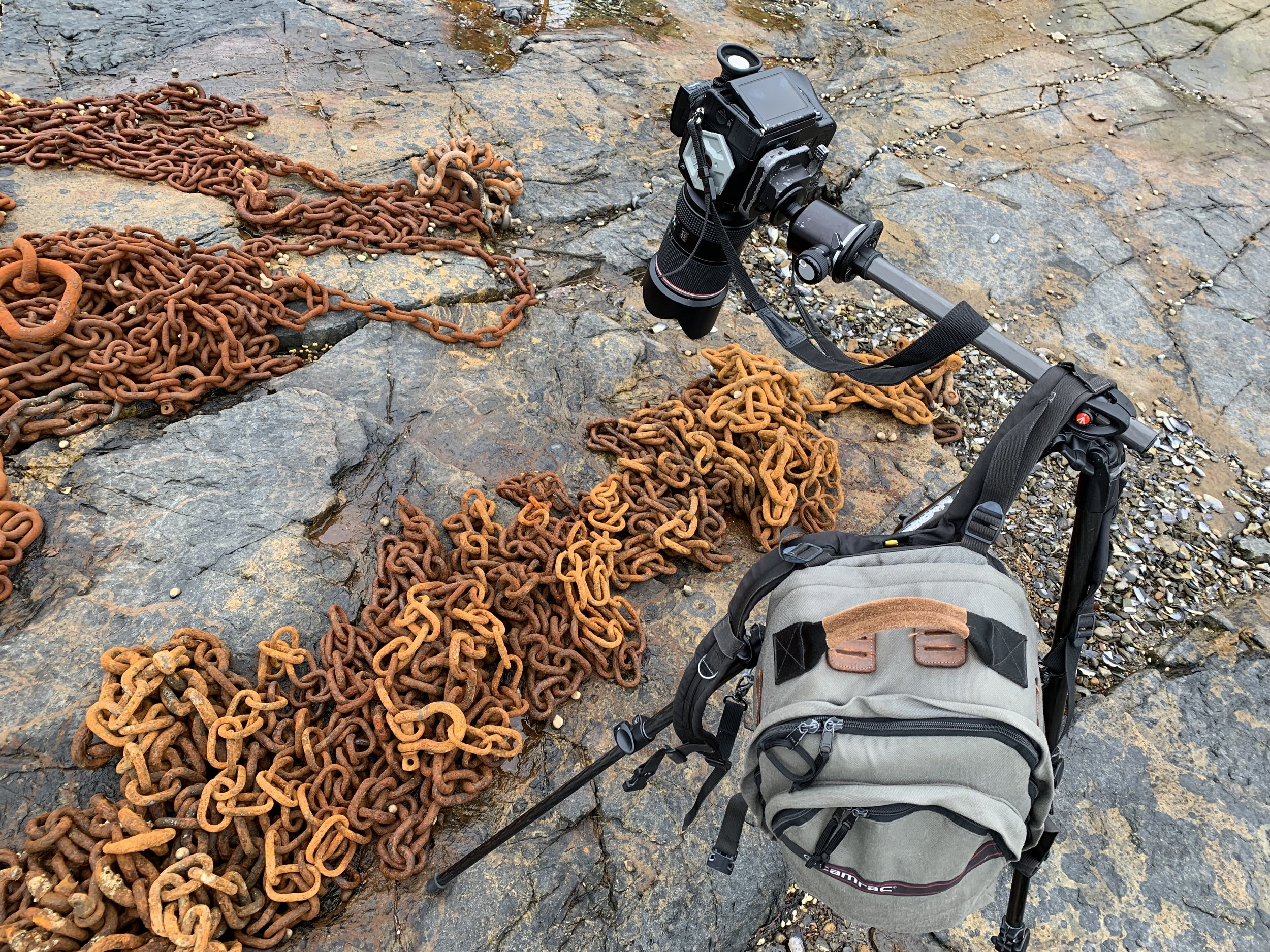 Center column extended out while photographing chains at Northeast Harbor, with camera bag as counterweight