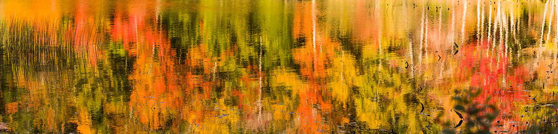Reflections of autumn foliage in Eagle Lake, Acadia National Par