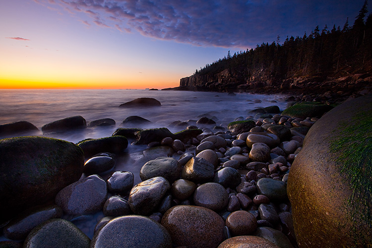 Dawn at the Boulder Beach, Otter Cliff, Acadia National Park, Ma
