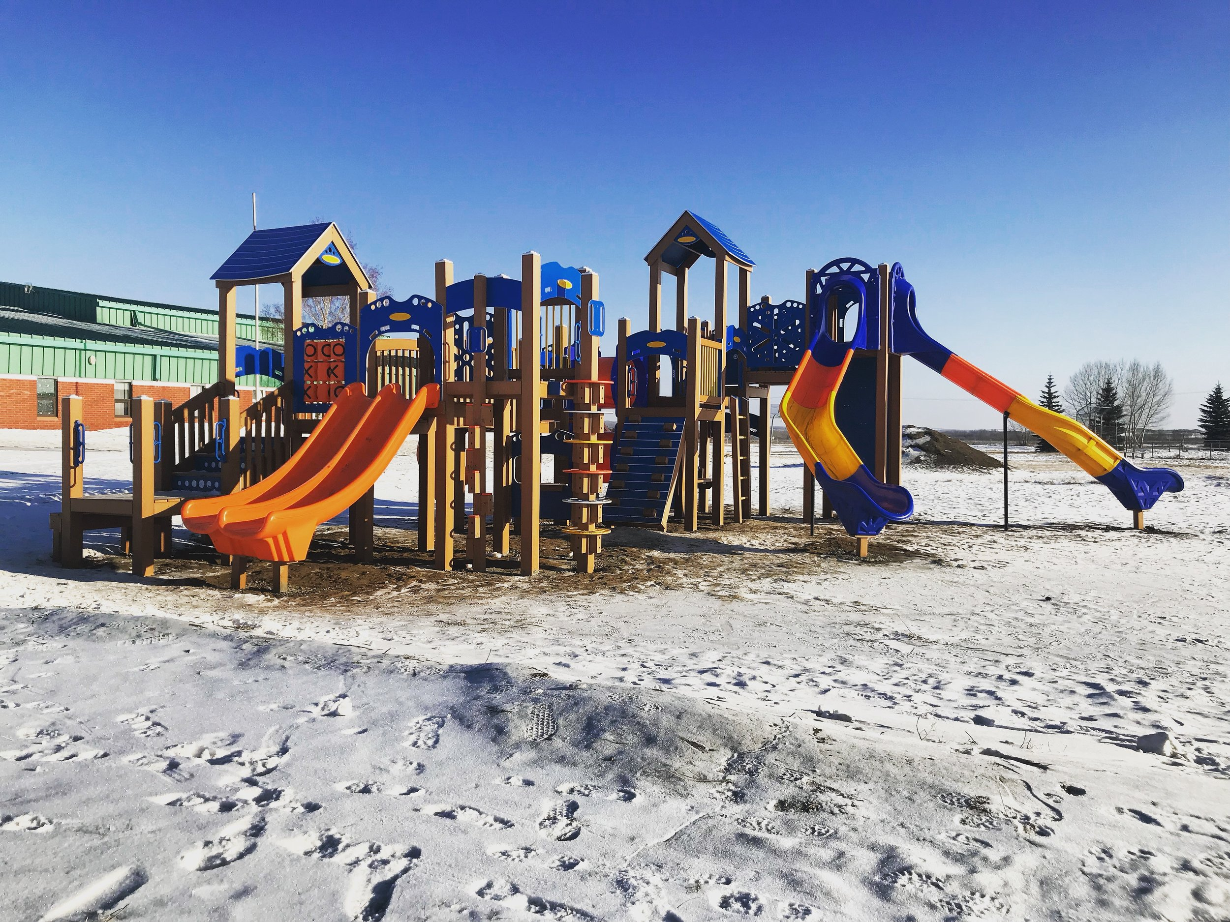 New Playground installed October, 2017. Shout out to Marlene Chickeness for being a backbone for children and community organizing - as well as Chief Poundmaker School Staff.