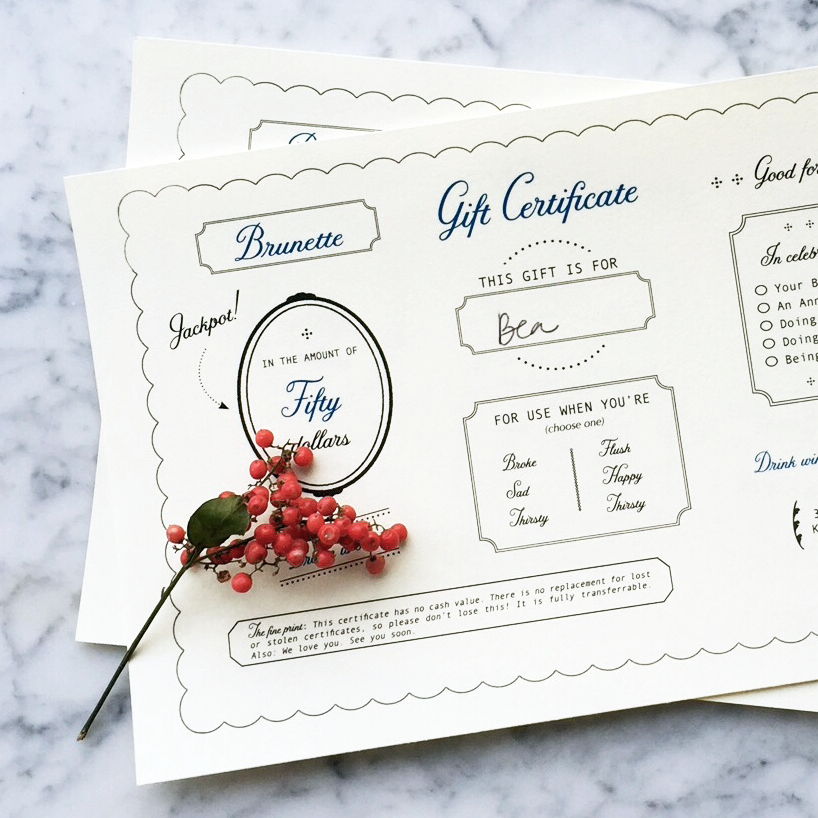 Gift Certificates starting at $30