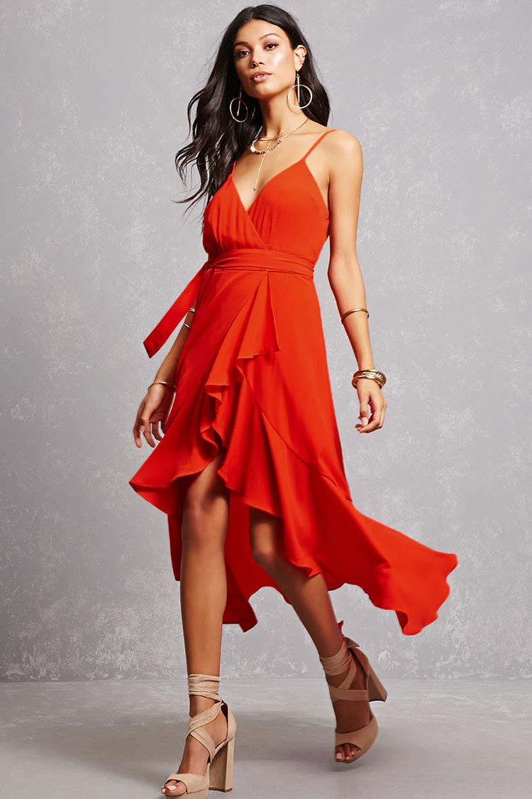 Lady in Red  -  This dress is simple and romantic. he flowiness of this dress makes is the perfect summer wedding attire.