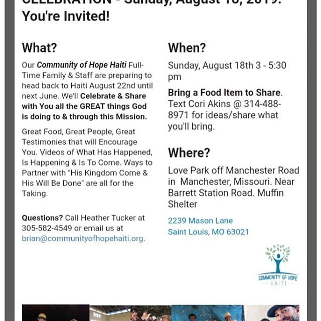Community of Hope Haiti's Annual BBQ Sunday, August 18th from 3pm - 5:30pm in St. Louis. You're invited!