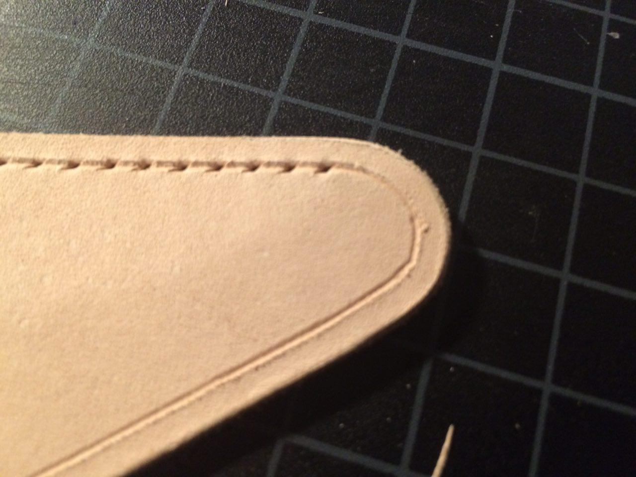 Stop creating stitching holes before you hit the curve. (click to enlarge)