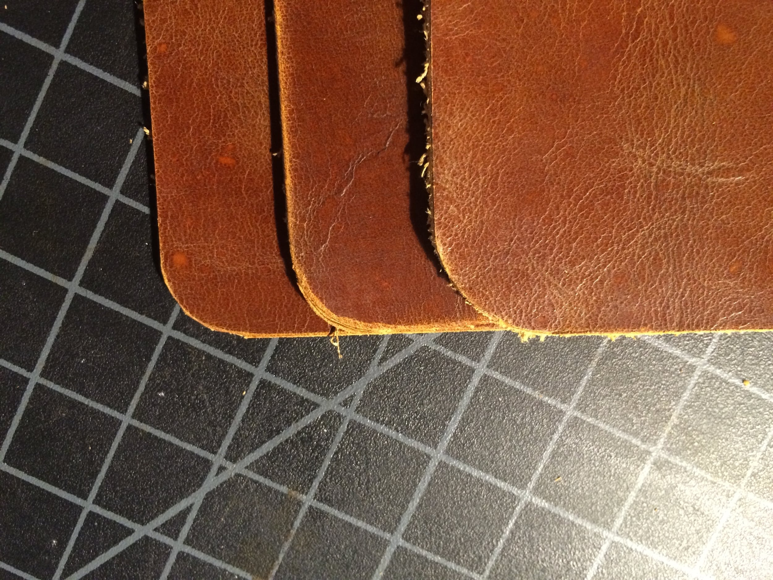 Here are the three methods side by side. The left is the multiple cuts, the middle is free hand, and the right was made using the washer. For me, the washer edge turned out the best (click to enlarge).