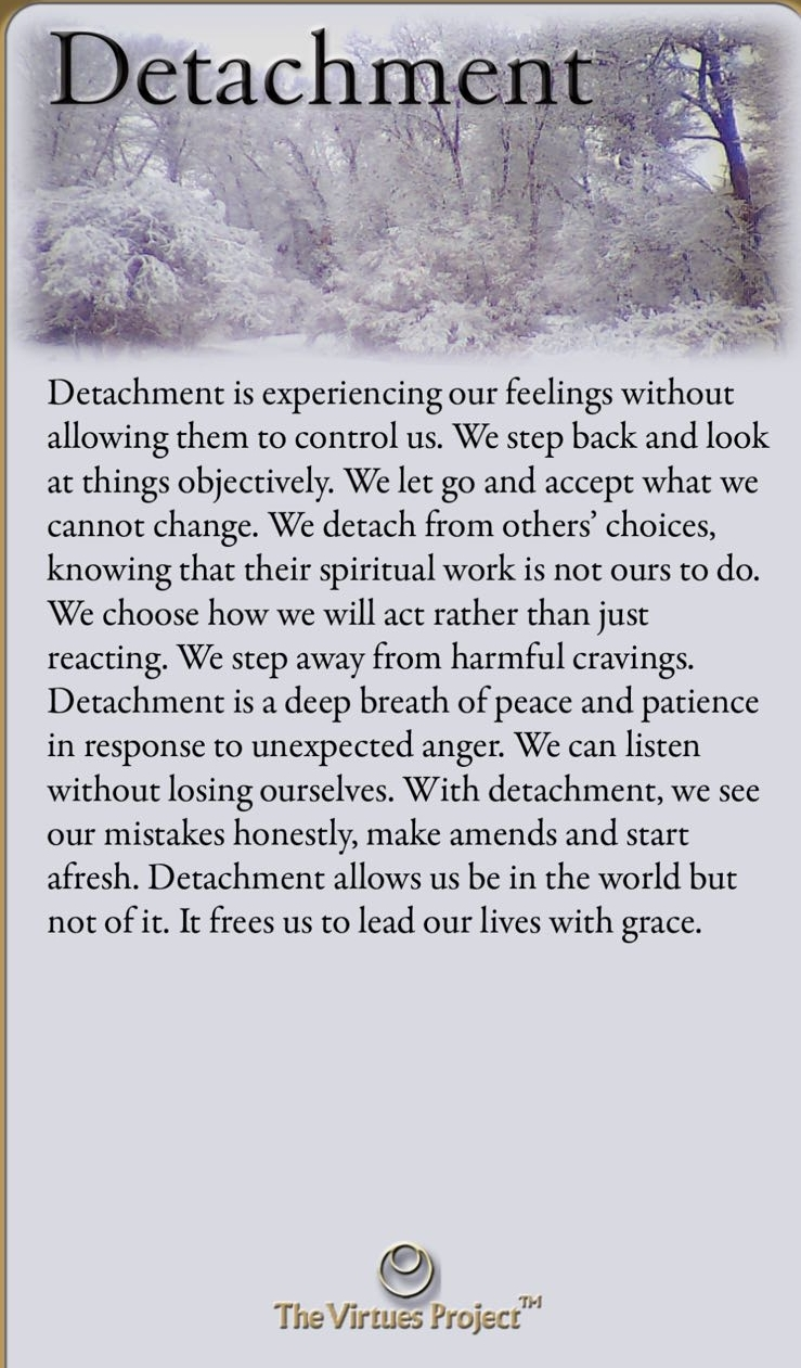 """Detachment -""""I think that even allowing yourself to feel through the emotions is detachment in a way"""""""