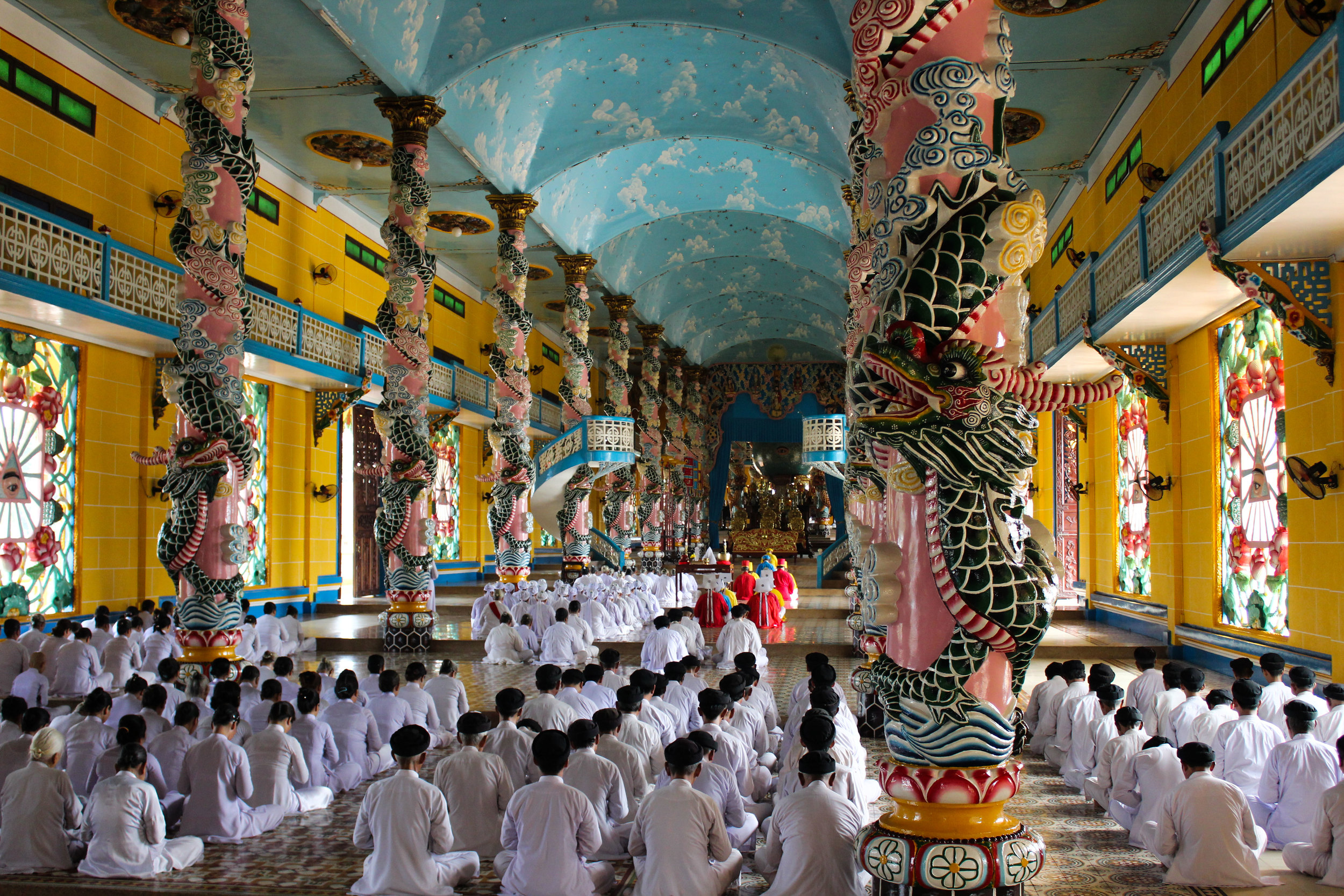 The Cao Dai temple is one of the most beautiful building I have probably ever been in