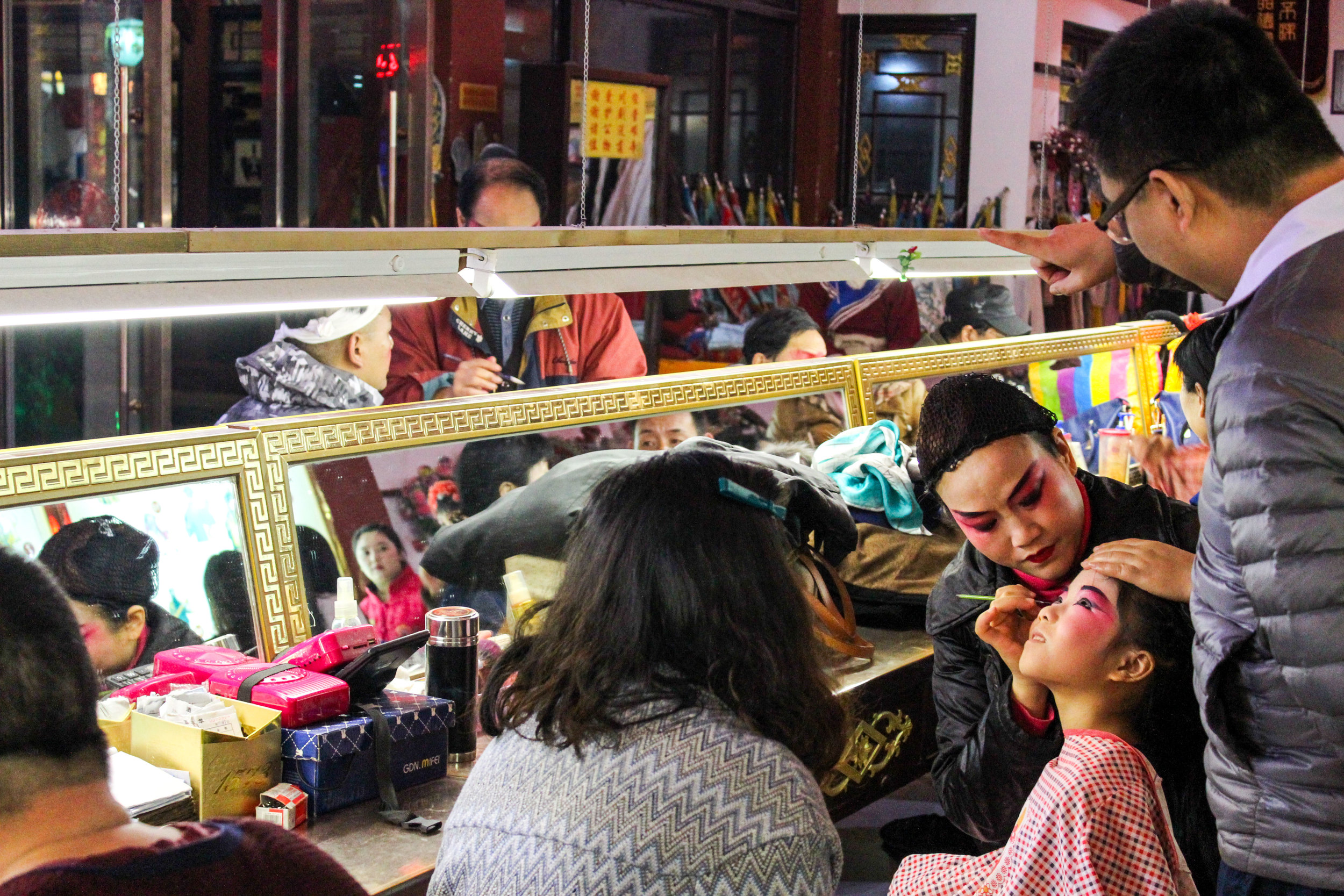 You could pay a fee at the Chinese Opera in Chengdu to get your makeup done in their signature style, I did not because I'm in denial about how obvious of a tourist I am