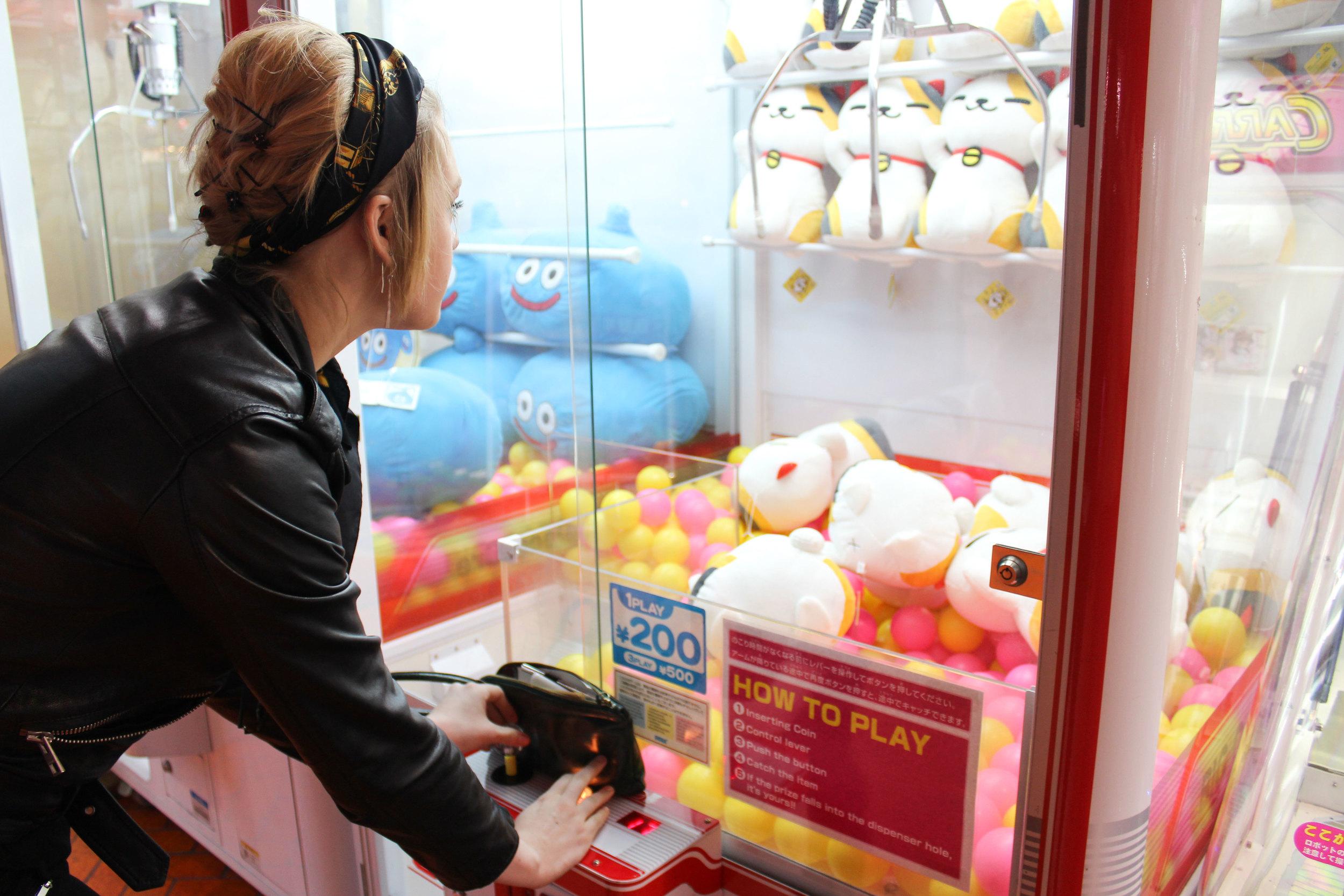 We spent 500 yen failing to acquire a stuffed cat
