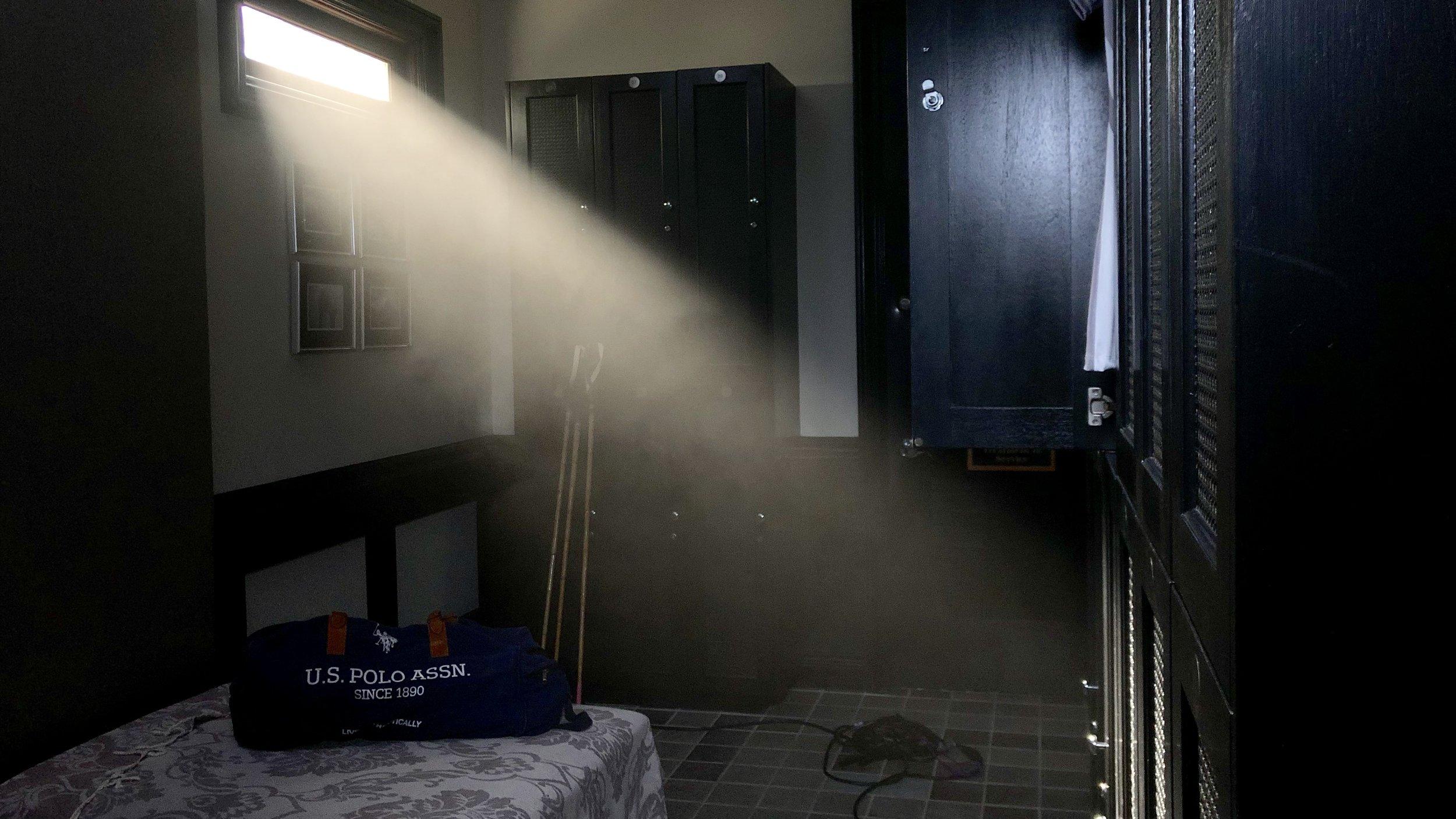 Some of our pretty window light. Arri M18 with a DF50 hazer.