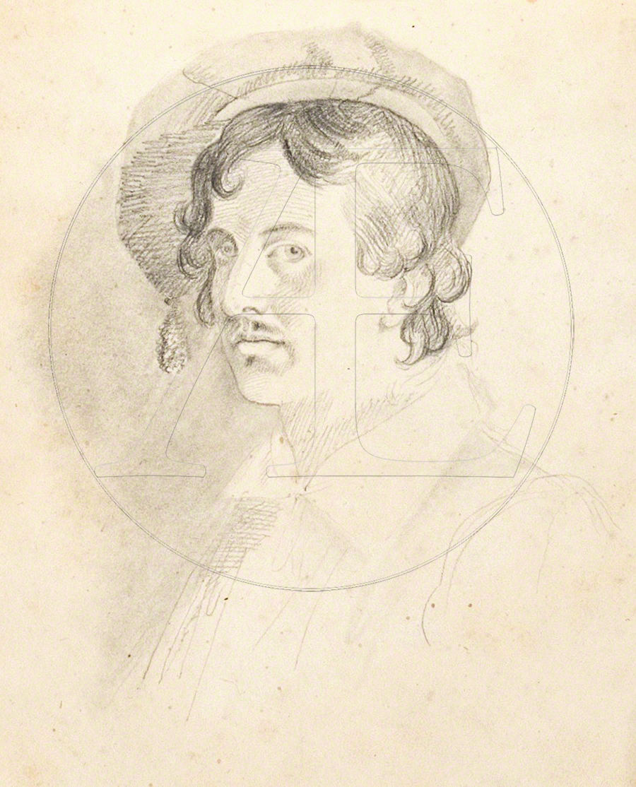 Horatio Greenough, Self-Portrait, Roman Sketch Book, McGuigan