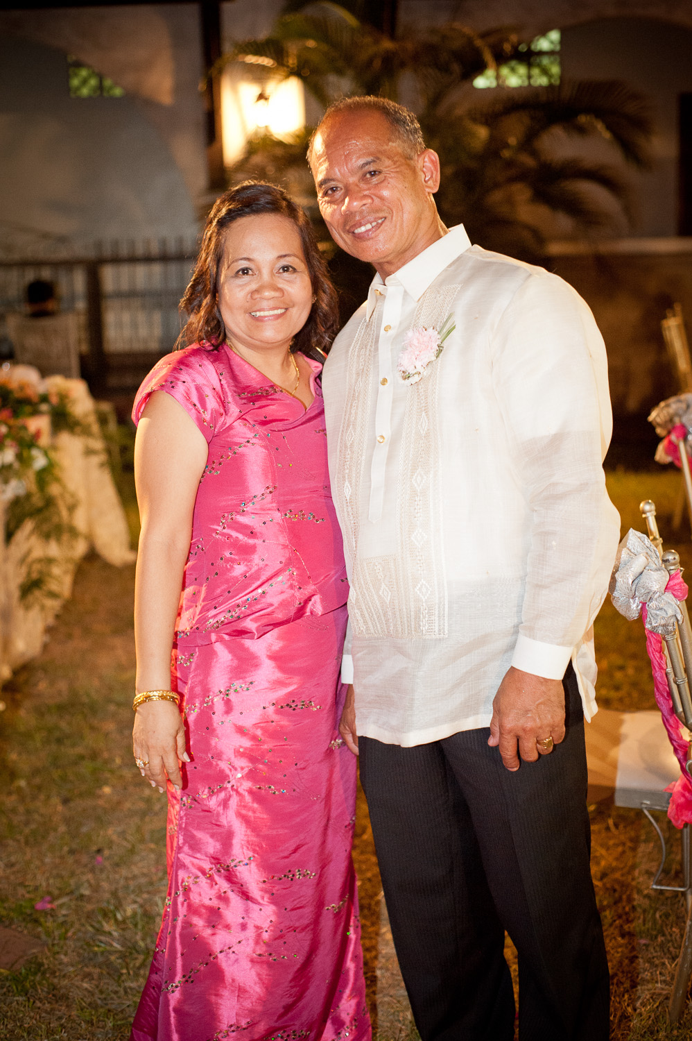 Ate May and her husband during at the wedding reception after her eldest son's church ceremony. Photo taken in 2013.