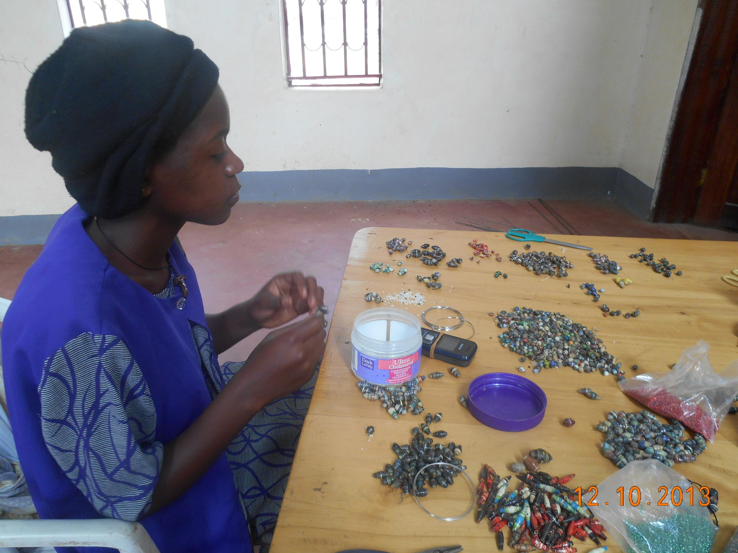 HTC member Lydia making craft to sell-DSCN2561.JPG