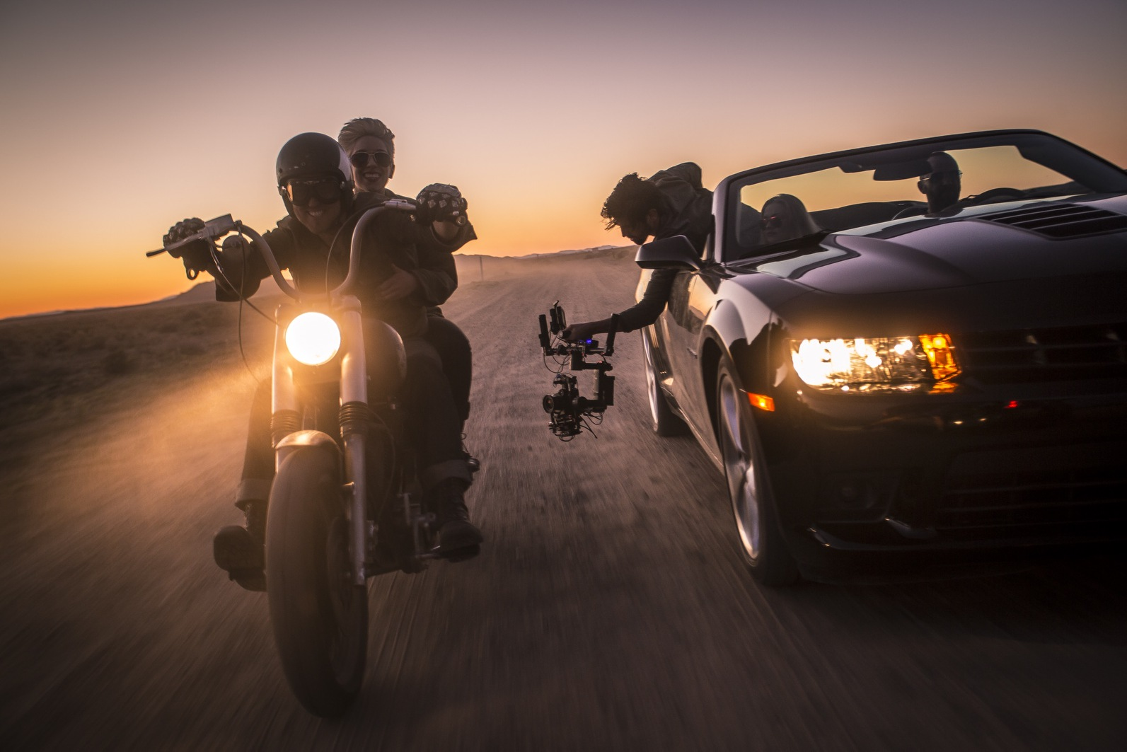 Clint Riding a Custom Motorcycle in DJI Shoot / Photo By Matt Roe