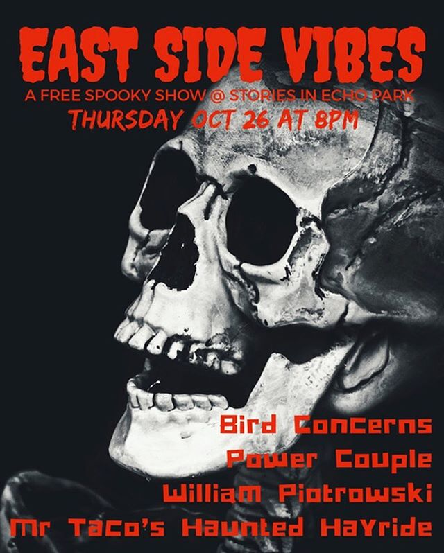 @eastsidevibesla This Thursday night @storiesbooksandcafe come see us and some of the spookiest bands in town... IF YOU DARE 👻👹💀👽🕸🕷🦇