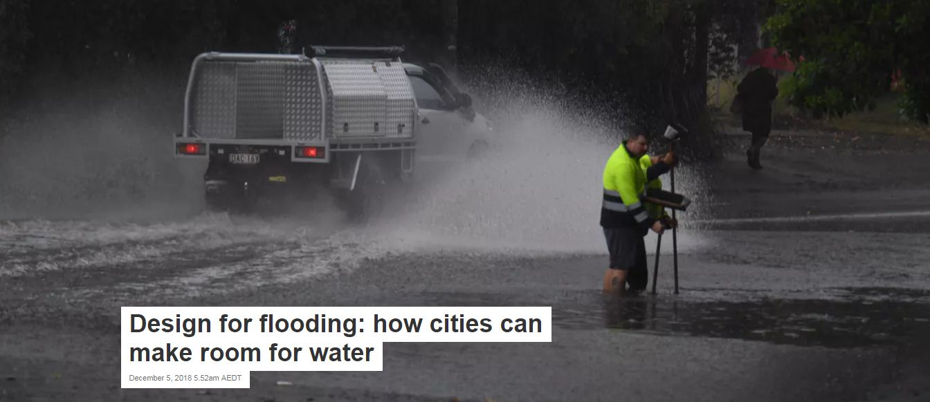 The November 2018 flooding in Sydney was the latest example of Australian cities' lack of resilience to a more extreme climate.  Image: Dean Lewins/AAP