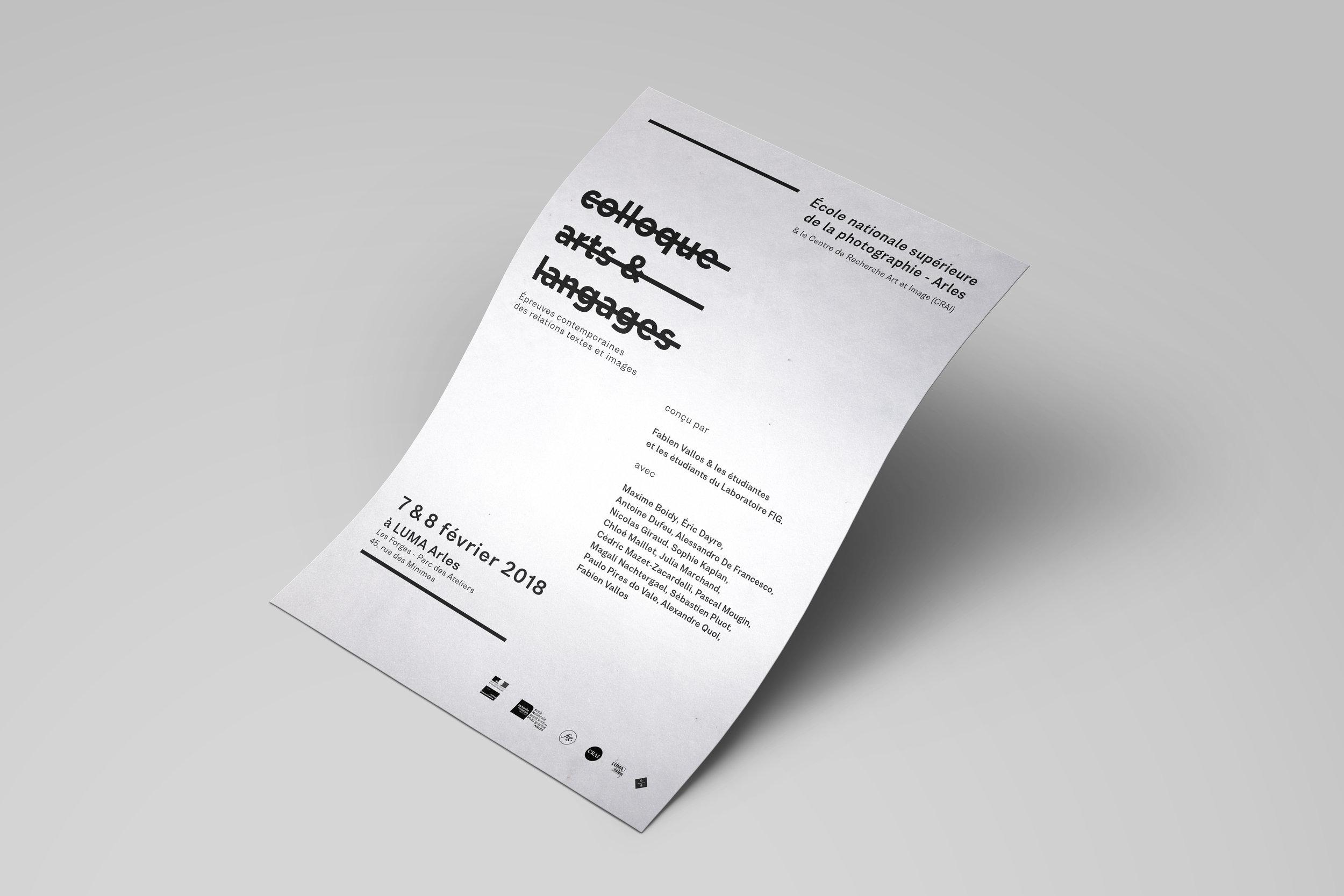 Affiche pour le Colloque Art & Langages conçu par Fabien Vallos, organisépar l'École Nationale Supérieure de la Photographie et la fondation LUMA, Arles, 2018.
