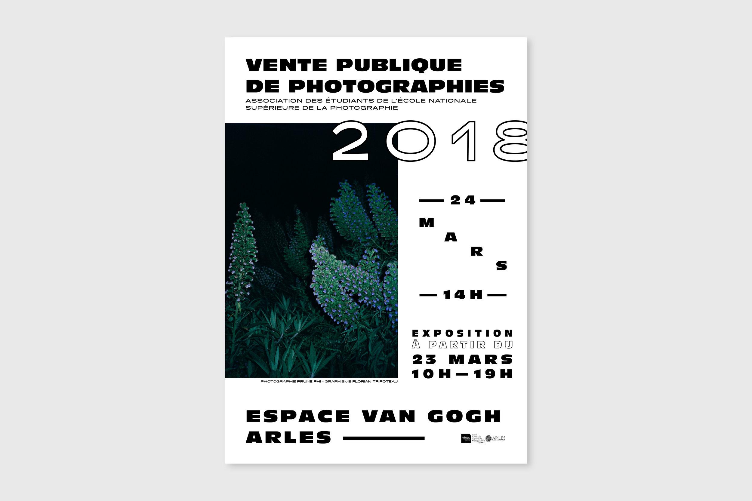 Affiche pour la vente publique de photographies organisée par l'association des étudiants de l'École Nationale Supérieure de la Photographie, Arles, 2018