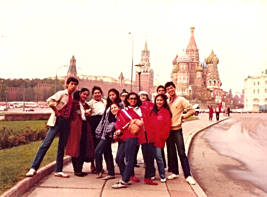 1981 In front of St Basil's Cathedral,the landmark of Russia
