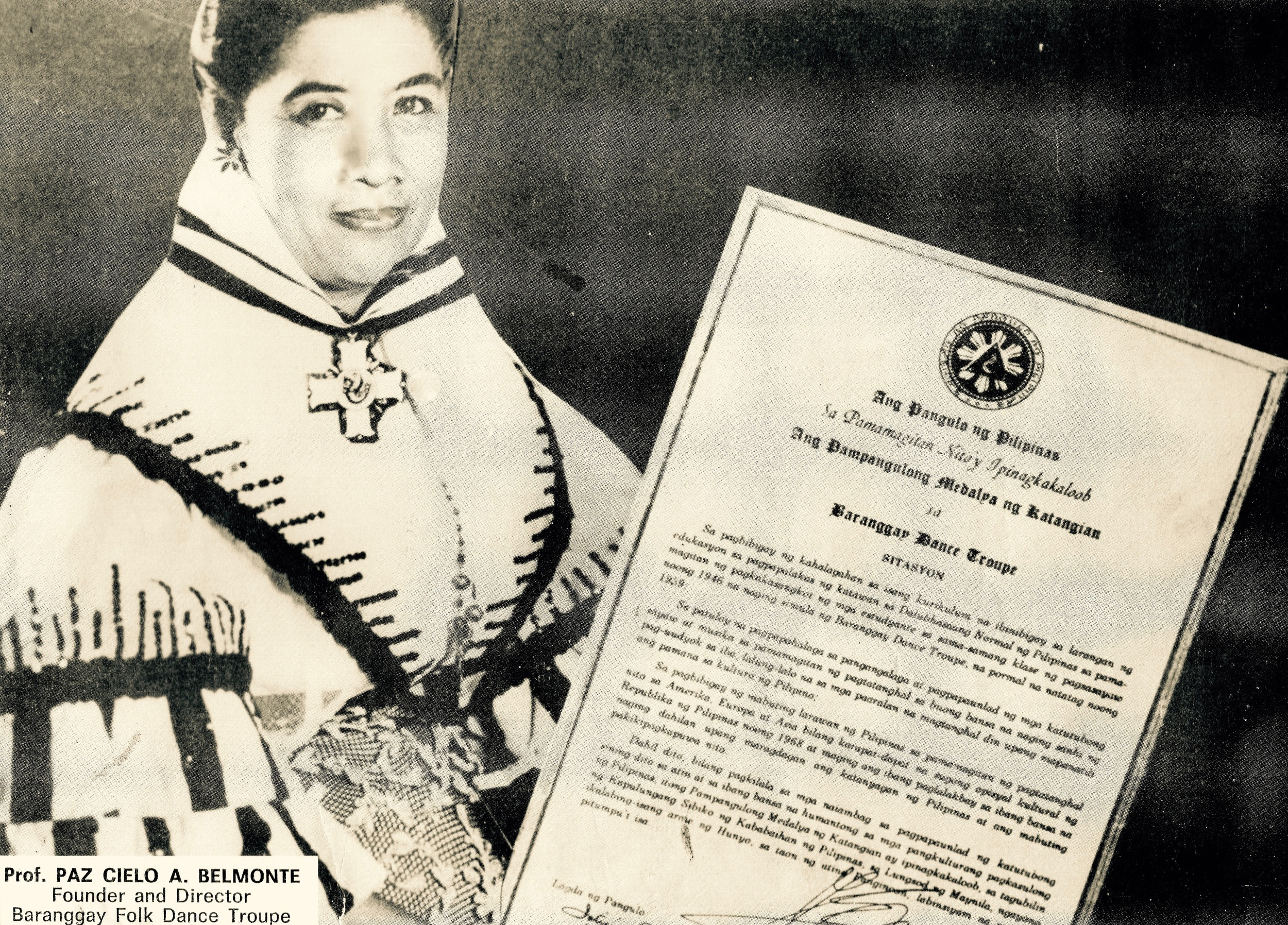 Dr Paz Cielo A Belmonte classic portrait after receiving the highest Presidential Awards - a traditional awards by the President of the Philippines to outstanding citizens and organizations known as the Presidential Medal of Merit, for outstanding contribution to   ADVANCEMENT OF PHILIPPINE CULTURE  .