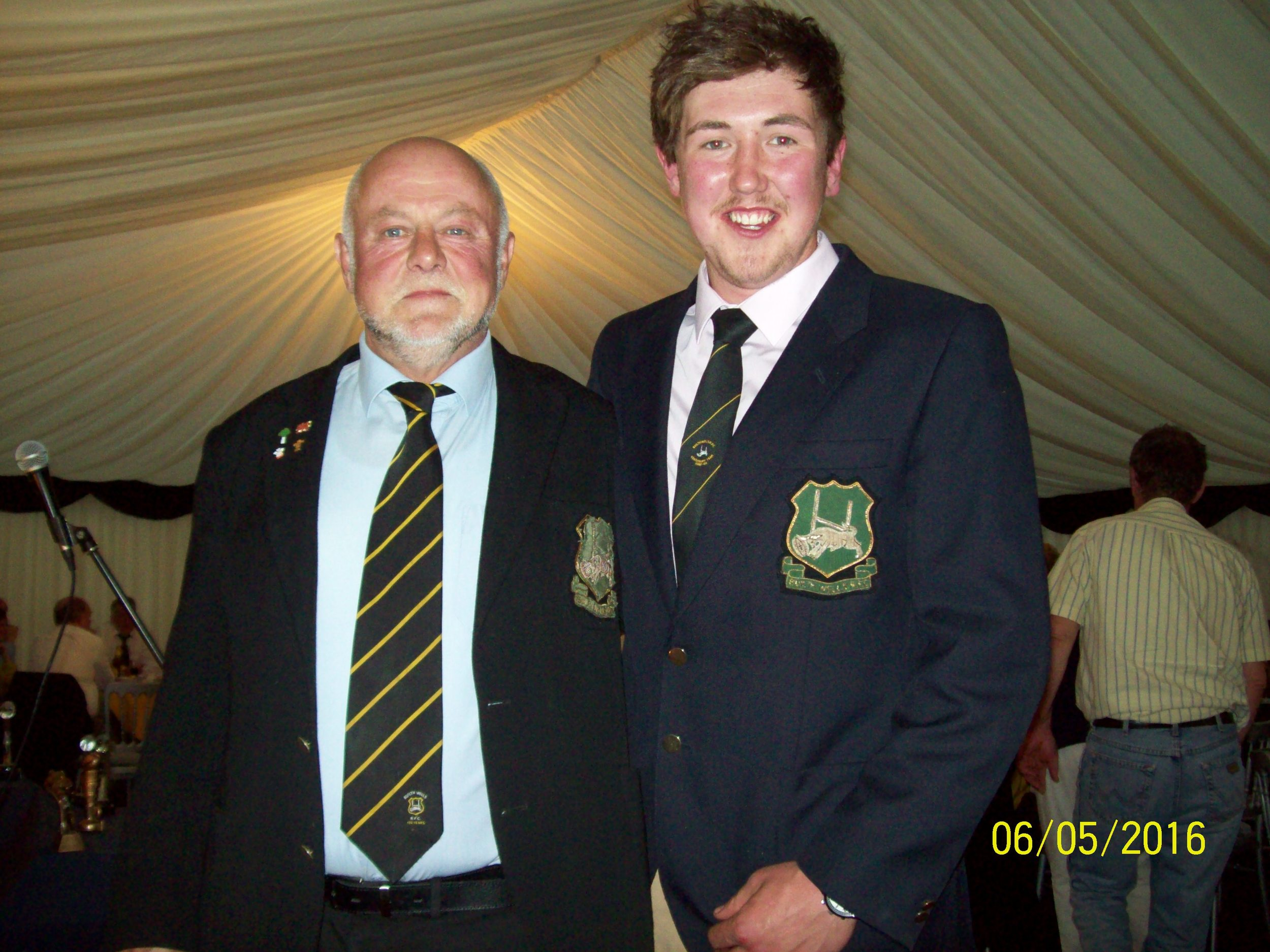 Mike Price (President) with 1st XV player Ashley Mills showing off club blazers at the awards dinner