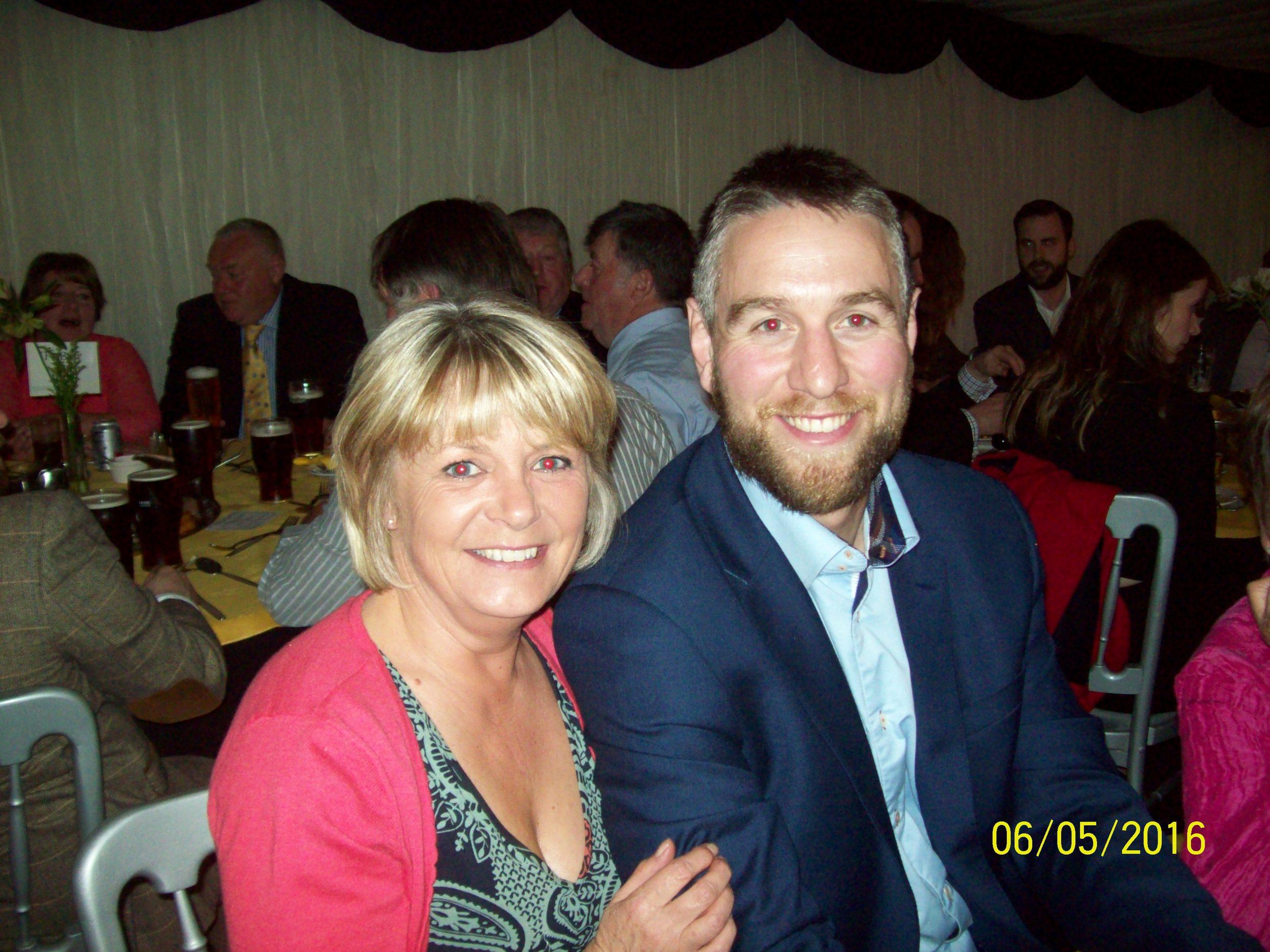 Denise Davies (the new club secretary) with Ryan Jones at the awards dinner