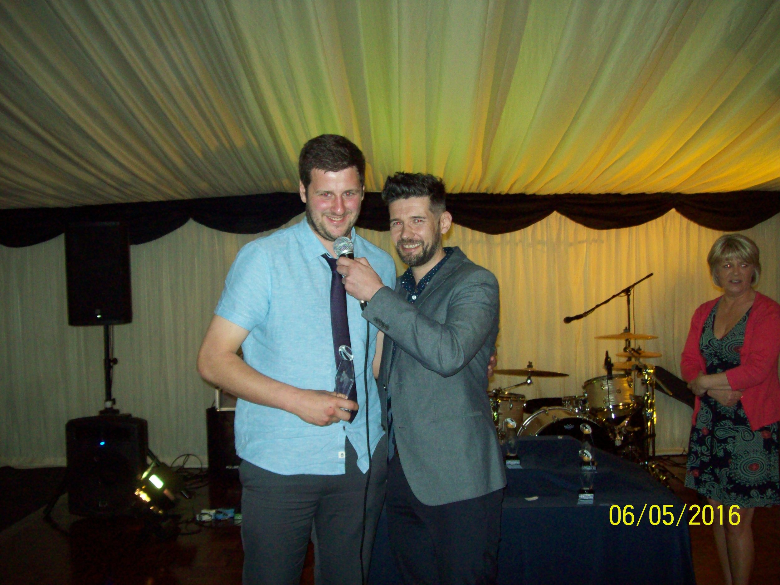 Dan Oakley. Winner of Best Supporting Player Award. With Nick Howells.