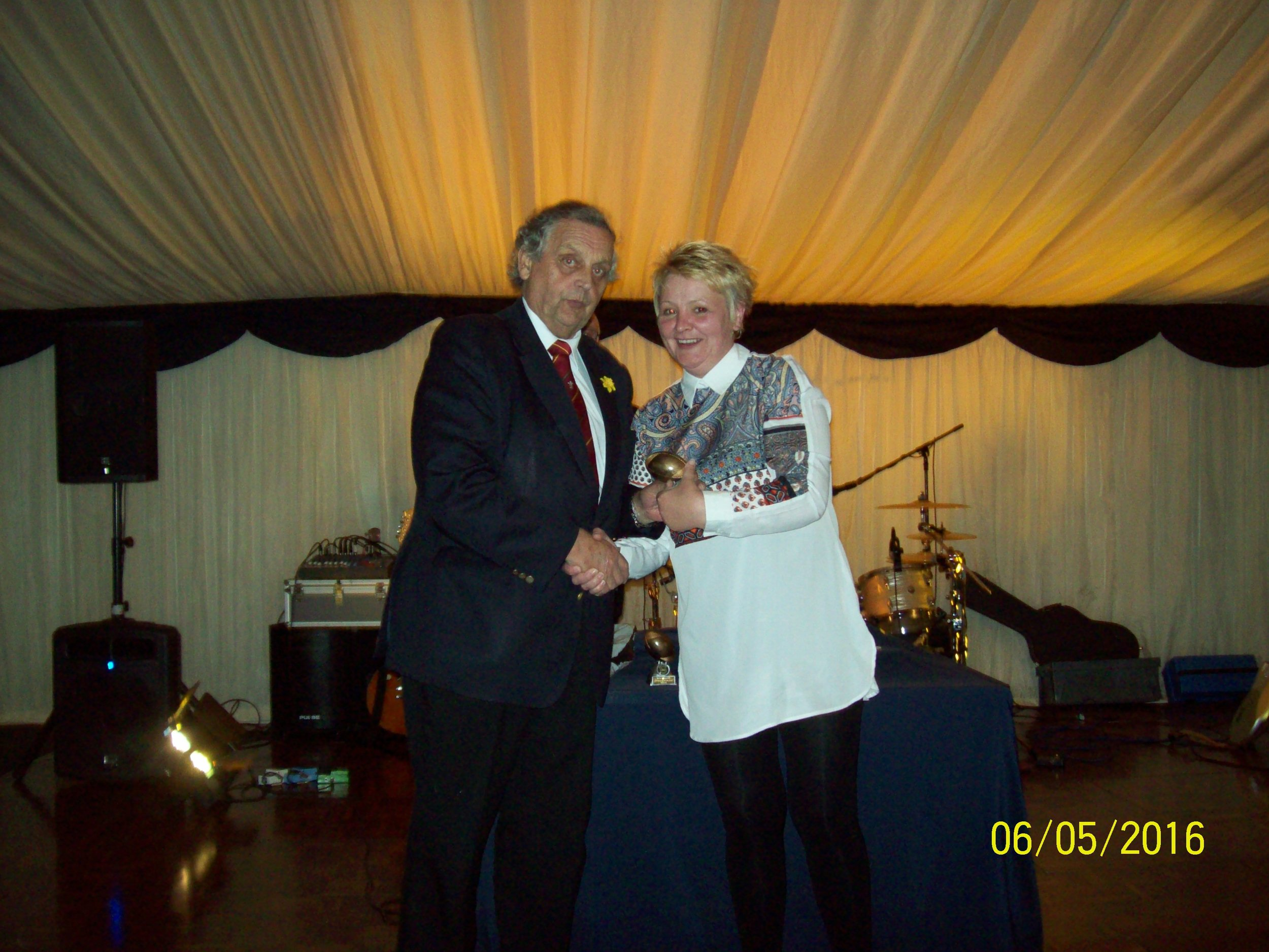 Sian Pugh, Supporter of the Year Award. With Ray Wilton (WRU)