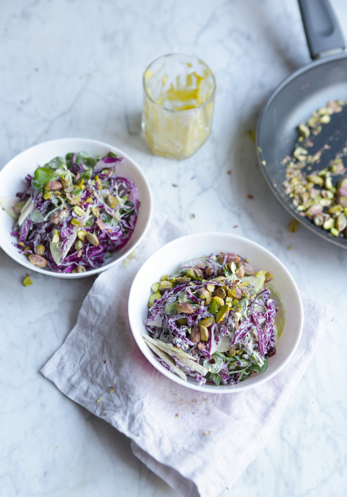 VEGAN CRUNCHY & CREAMY MUSTARD COLESLAW WITH TOASTED PISTACHIOS
