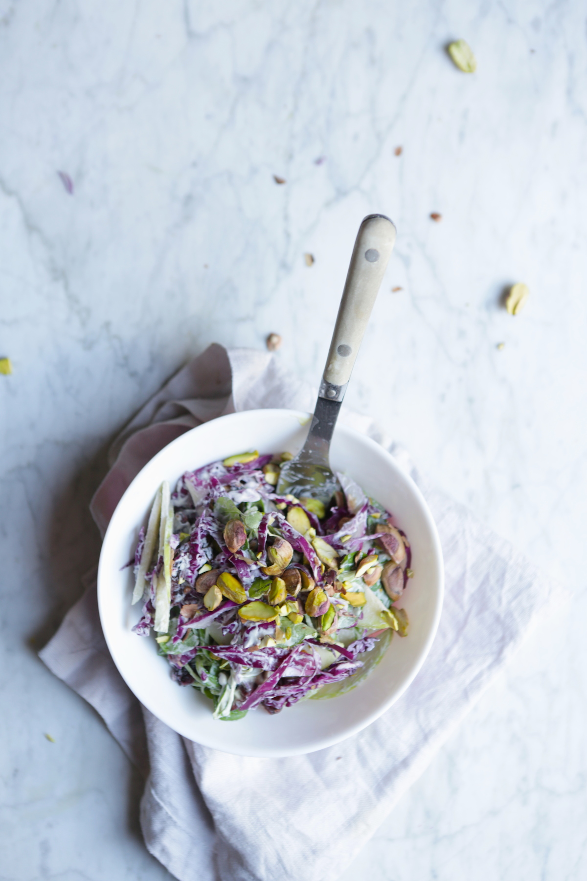 VEGAN CRUNCHY & CREAMY CASHEW MUSTARD COLESLAW WITH TOASTED PISTACHIOS