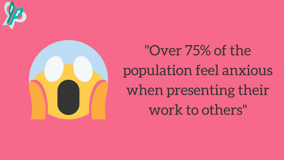 """Image: """"Over 75% of the population feel anxious when presenting their work to others"""""""