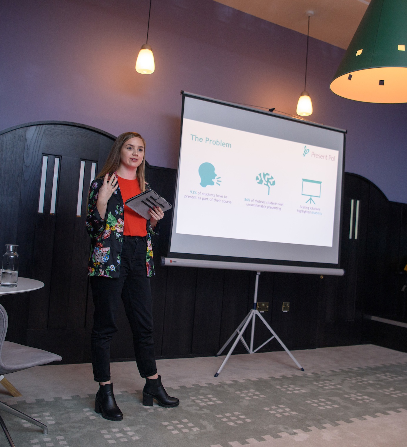Leah pitching on behalf of Estendio at the WES Investor Day.